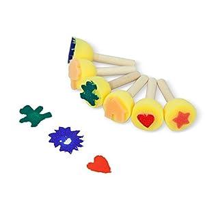 Foam Brush Set CONDA Set of 6 Stamp Painter,Sponges Brush Set for Kids Wood Handle
