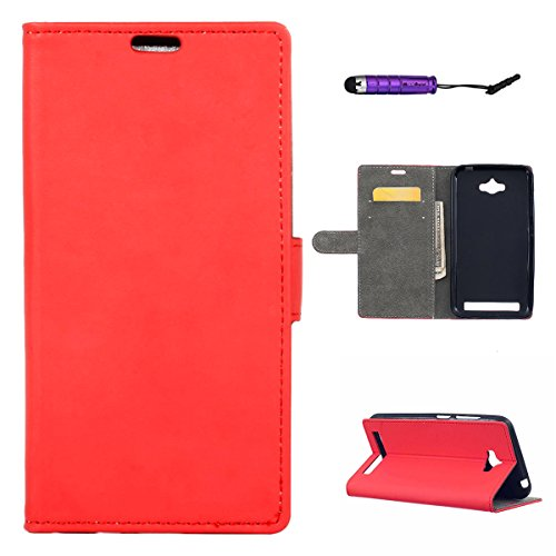 Wallet Flip Leather Case Cover For Asus Zenfone Max ZC550KL (Red) - 8