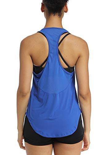 Muzniuer Workout Tank Tops for Women - Mesh Athletic Yoga Tops, Racerback Running Tank Top Mesh Sports Gym Sports Hiking Clothing Athletic Fitness Tank Tops for Junior Summer Tee Tank RoyalBlue L