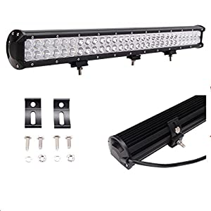"Lumitek 28"" 180W Led Light Bar Flood Spot Combo Light Bar for Off-road Vehicle ATV SUV UTV 4WD Jeep Boat with 2 pcs 18w Cree Led Pods Flood Light,Remote Control Wiring Harness +120W"