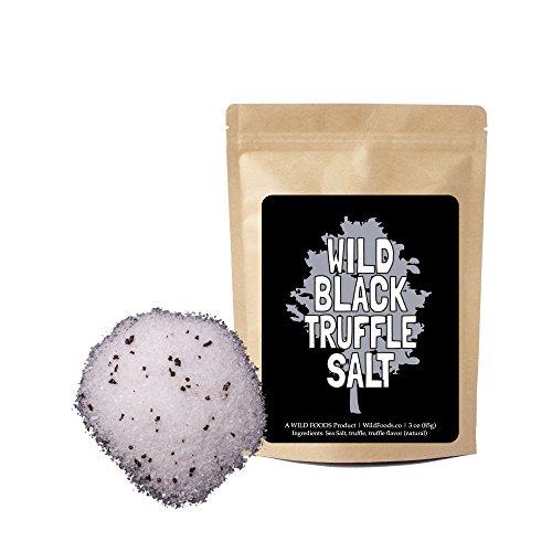 Black Truffle Salt, All Natural Sea Salt With Black Truffles by Wild Foods (Fine) - 3 ounce by Wild Foods