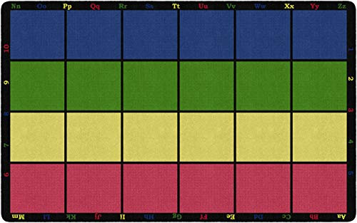 Flagship Carpets FE126-44A Learning Grid Children's Classroom Seating Rug (Seats 24), 7'6