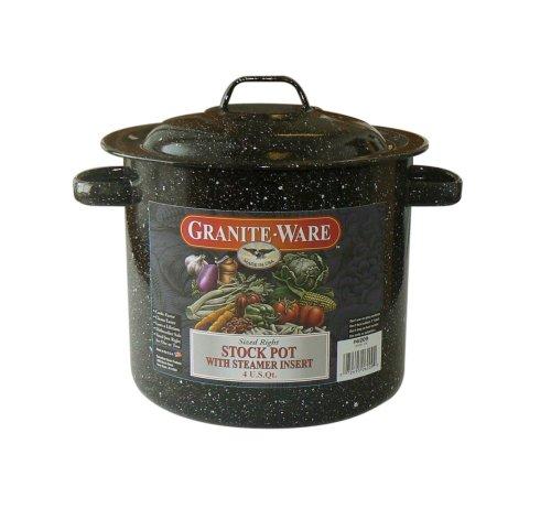 Laminated Black Granite Top - Granite Ware Stock Pot with Steamer Insert, 4-Quart