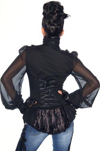 Splendide bustier veste chemisier long corsage & vintage gothique noir taille 36–42