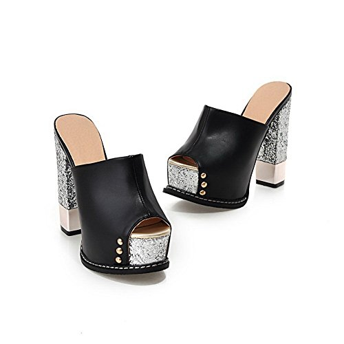 BalaMasa Black Ladies Material Soft Slippers Studded Heels High Rivet 1rOqa1w4g