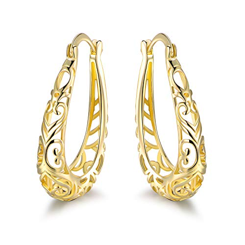 Barzel 18K Gold Plated Filigree Hoop Earrings (Gold)