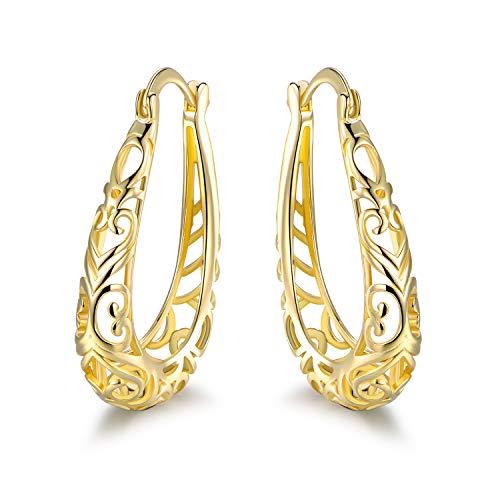 Barzel 18K Gold Plated Filigree Hoop Earrings (Gold)