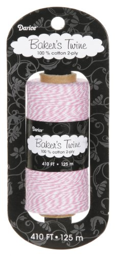 Darice BT104 2-Ply Bakers Cotton Twine, 410-Feet, Pink/White (Light Pink Bakers Twine)