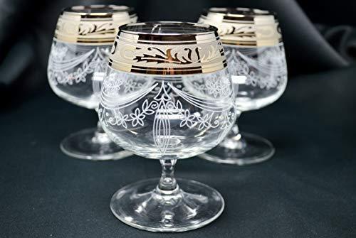 Glass set of 6, Cognac Glass, Platinum plated, Floral Design, Wedding Gift, Home decor, 13oz / 400ml BRANDY ARMAGNAC CALVADOS WHISKEY GLASSES ENGRAVED VINTAGE FLORAL DESIGN CLASSIC STEM GOBLETS