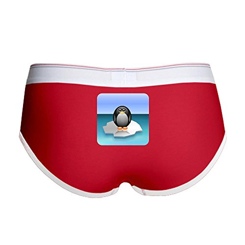 Royal Lion Women's Boy Brief Underwear Cute Baby Penguin - Red/White, Medium