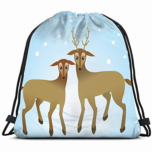 - Couple Deer Snow Illustrations Clip Art Bambi Drawstring Bag Lightweight Gym Sackpack for Hiking Yoga Gym Swimming Travel Beach