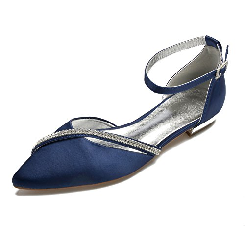 MarHermoso Women's Satin Ankle Strap Pointed Toe Rhinestones Comfort Flats Shoes Navy Blue ()