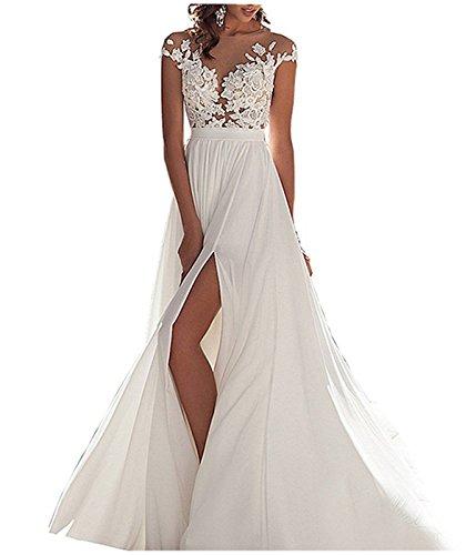 WANNISHA Women's Sexy Chiffon Beach Wedding Dress Long Tail Gown Bride Dresses, 16, White