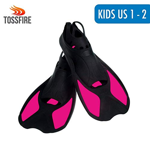 Snorkeling Fins For Kids, Short Floating Training Swimming Fins for Children Boys and Girls US size Kid 1-2 Width Ankle 2.5