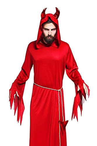 Devil Costume For Men - Adult Men Red Devil Costume Satanist Robe With Hood Horns Demon Cosplay Dress Up (Medium/Large, Red)