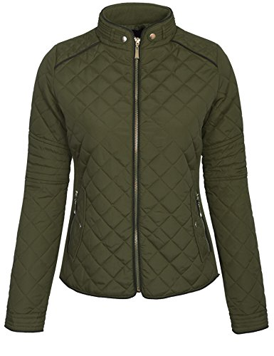KOGMO Womens Quilted Fully Lined Lightweight Zip Up Jacket S-3X-L-OLIVE