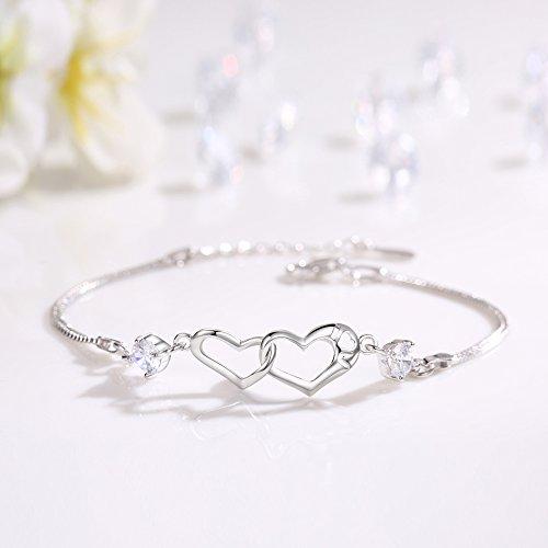 EVERU Heart Love Bracelet for Women, 925 Sterling Silver Adjustable Charm Forever Bracelet by EVERU (Image #3)