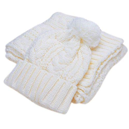 Fille Femme Avec Souple Pompon Acvip Tricoté Blanc Couleurs Bonnet Echarpe Ensemble Chapeau Chaud Hiver Et 4 Crochet zq5TwdT
