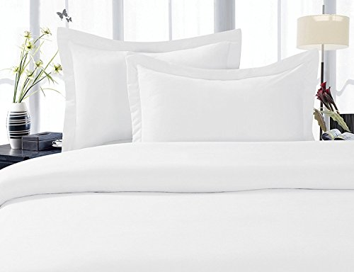 LinenTown 600-Thread-Count Egyptian Cotton Duvet Cover Set - Twin/Twin-XL, White Solid ()