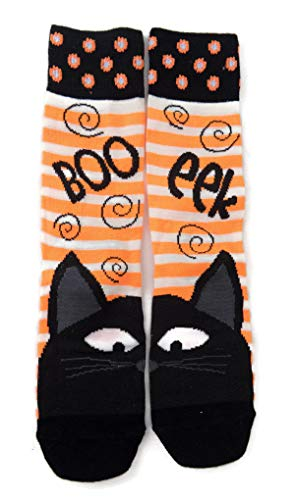 Halloween Boo Eek Black Cat Women's Crew Socks -