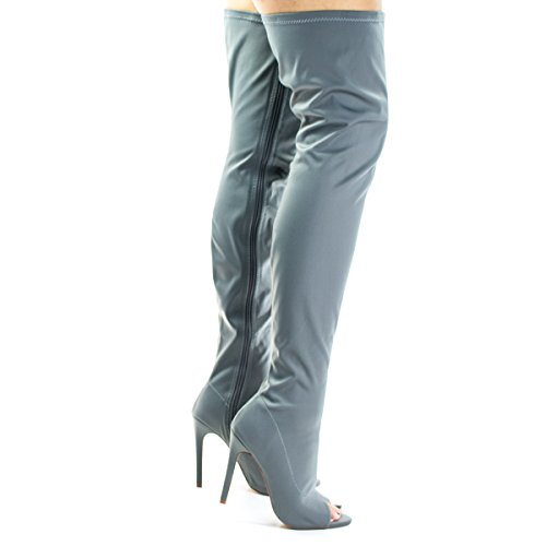 Liliana Connely8a Gray Peep Toe High Stiletto Heel, Over The Knee, Thigh High Dress Boots -8.5