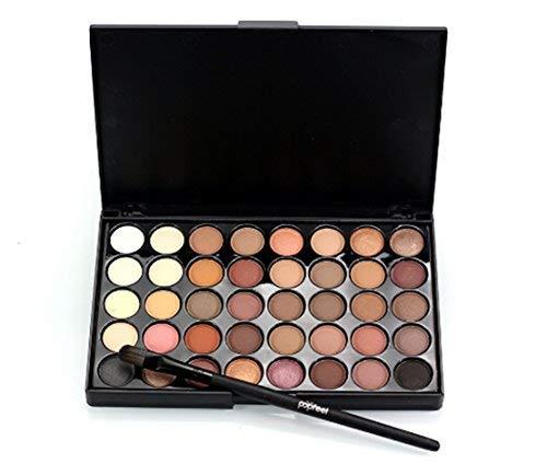 Tmrow 40 Colors Natural Eye Shadow Makeup Cosmetic Pearl Metallic Smoky Eyeshadow Palette+Brush Set,E40#1