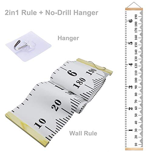 2 in 1 7.9 x 79 inch Baby Growth Chart Canvas Wall Hanging Measuring Rulers with Free No-Drill Hanger for Kids Boys Girls,Room Decoration,Nursery Removable Height and Growth Chart