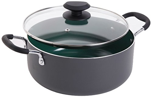 Gibson Home 92138.02 Hummington 5 Quart Ceramic Non-Stick Dutch Oven with Glass Lid, Green
