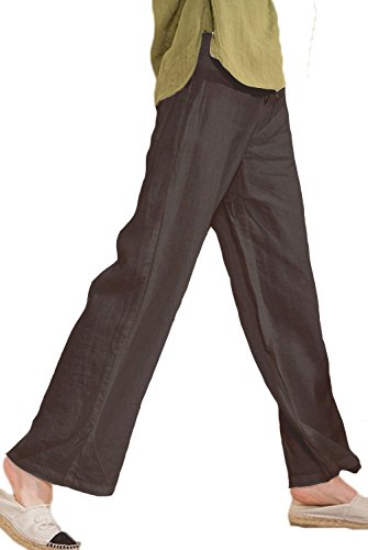 Ecupper Women's Full Length Loose Fitting Linen Pants with Drawstring Waist Black US 6/TagM