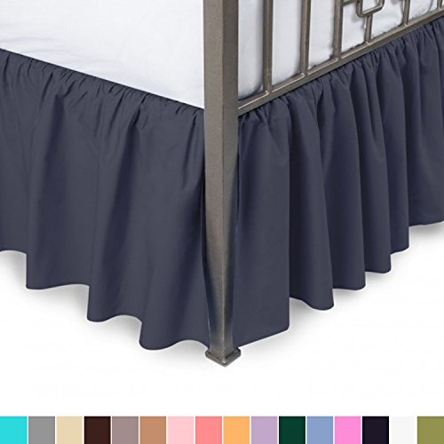 Blue Twin Bedskirt (Harmony Lane Ruffled Bed Skirt with Split Corners - Twin, Navy, 21 Inch Drop Bedskirt (Available in All Sizes and 16 Colors))