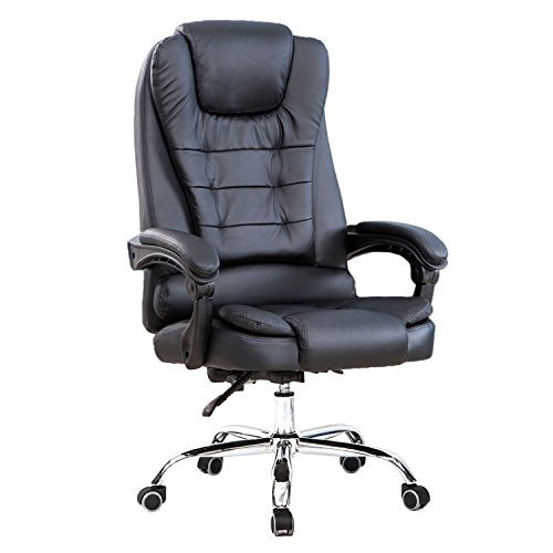High Back Big and Tall Executive Office Chair Ergonomic Comfortable Heavy Duty Leather Swivel Recliner Task Chairs With Lumbar Support Black by Little Boy