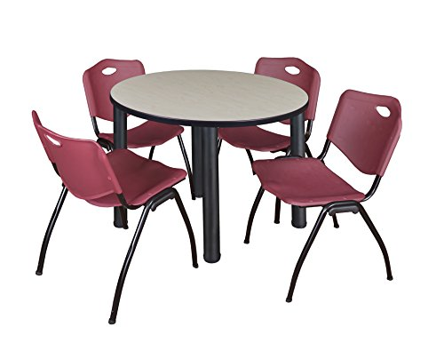 """Kee 36"""" Round Breakroom Table- Maple/ Black & 4 'M' Stack Chairs- Burgundy"""