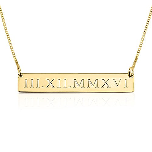 Roman Numeral Cut Out Bar Necklace in 24k Gold Plating & Free Gift Box & Bag