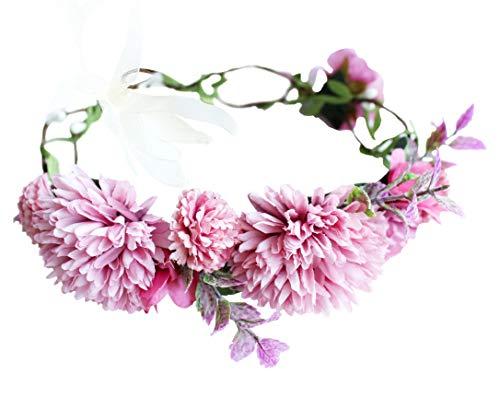 Vivivalue Flower Wreath Crown Boho Flower Headband Hair Garland Floral Headpiece Halo with Ribbon Wedding Party Festival Photos Rosy