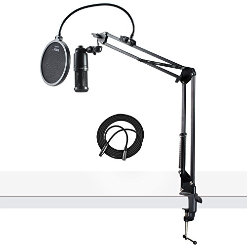 Audio-Technica AT2020 Condenser Studio Microphone with XLR Cable Knox Studio Stand and Pop Filter - Audio Technica At2020 Studio Condenser