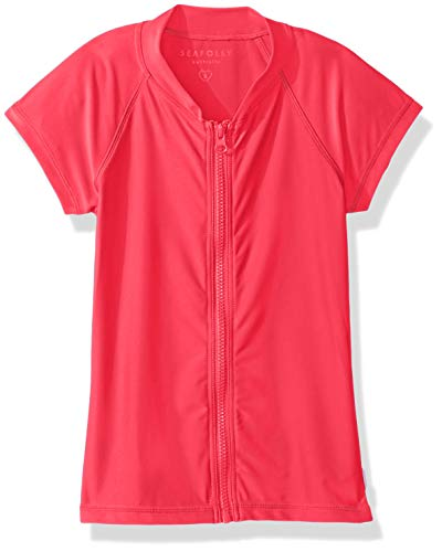 - Seafolly Big Girls' Short Sleeve Zip Front Rashguard, Summer Essentials Raspberry, 14