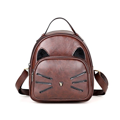 Cat Ear Design Backpack Vintage PU Leather Backpack Cute Cats Backpacks For School Bags Small Travel Bags Brown 12 Inches