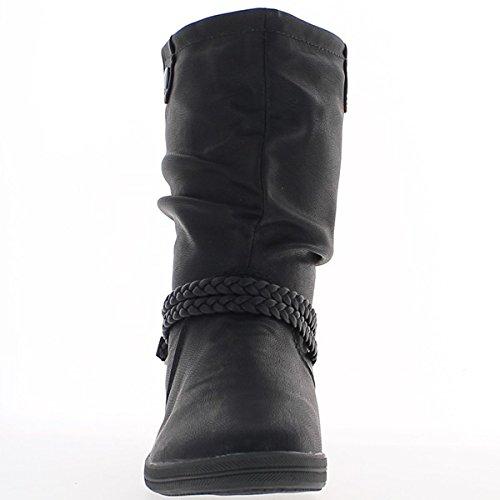 Stiefeletten flache schwarze Frauen verdoppelt-Leder-Optik