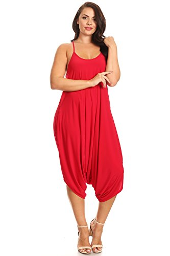 Sexy Robin Outfit (PB COUTURE Womens Plus Size Spaghetti Strap Scoop Neck Loose Fit Harem Jumpsuit Overall One Size Robin Red)
