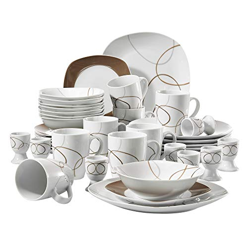 VEWEET 40-Piece White Porcelain Dinnerware Set Brown Lines Patterns Plate Sets Kitchen Plates, Service for 8 (NIKITA Series)