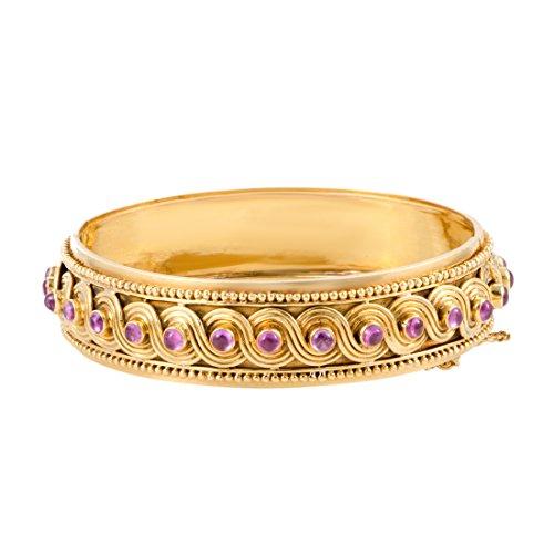 Zolotas 18K Yellow Gold Pink Sapphire Bangle Bracelet