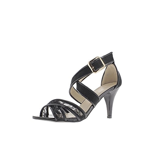 Encaje de tacón sandalias negro tamaño 9cm
