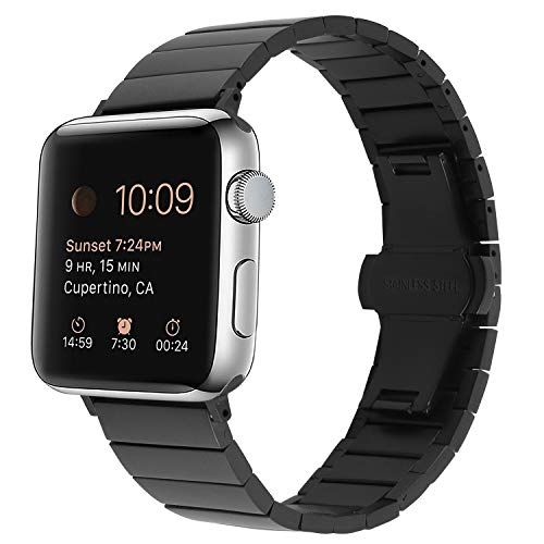 Link Plastic Band (Hirotech Apple Watch Bands 42mm 44mm Stainless Steel, iWatch Metal Link Bracelet 42mm Apple Watch Series 4,Series 3, Series 2, Series 1, Sports & Edition(Black, 42mm 44mm))