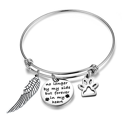 Gzrlyf Pet Memorial Bracelet Paw Prints Bracelet No Longer by My Side But Forever in My Heart Charm Pet Lover Gift(no Longer by My Side Bracelet) (Lover Heart Bracelet)