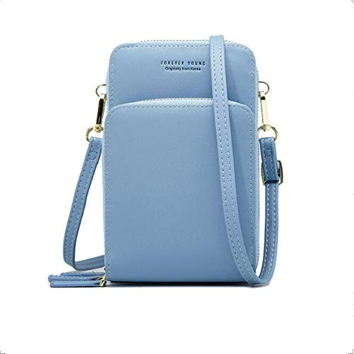 Cellphone Purse Crossbody Bag Small Mini Handbag for Women Ladies Wallet Leather Faux with Zipper Extender Strap and RFID Card Slots Organizer Clutch Soulder Purses Girls Bags, Light Blue