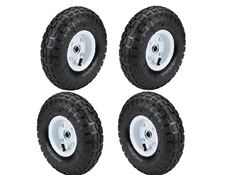 Set of 4 10 in Haul-Master Pneumatic Tire Wheel GO CART 4.10/3.50-4 KNOBBY TREAD ()