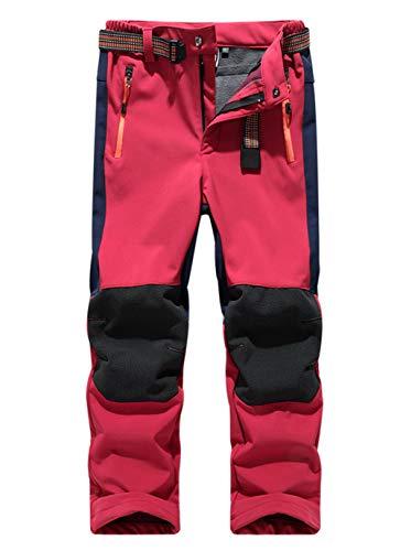 LANBAOSI Kids Boys Girls Waterproof Outdoor Hiking Pants Warm Fleece Lined Red