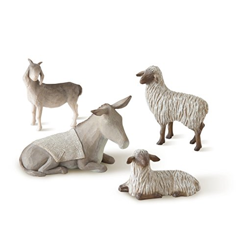Willow Tree hand-painted sculpted figures Sheltering Animals for The Holy Family, 4-piece (Christmas Nativity Figure)