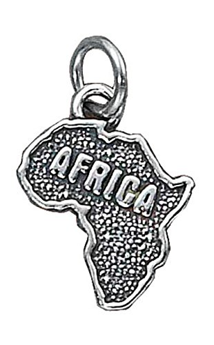 Sterling Silver 30'' Men's 1.5mm Box Chain Africa Continent Pendant Necklace by Auntie's Treasures