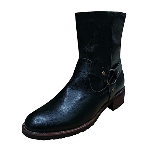 Leather Boots for Men Classic Casual Outdoor Low-Heeled Ankle Boots Shoes with Zipper (US:9, Black)
